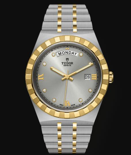 New Tudor Royal Watch Cheap Price 41 mm steel case Diamond-set dial Replica watch m28603-0002