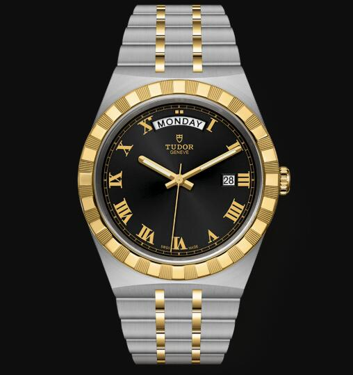 New Tudor Royal Watch Cheap Price 41 mm steel case Yellow gold bezel Replica watch m28603-0003
