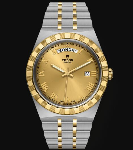 New Tudor Royal Watch Cheap Price 41 mm steel case Yellow gold bezel Replica watch m28603-0004