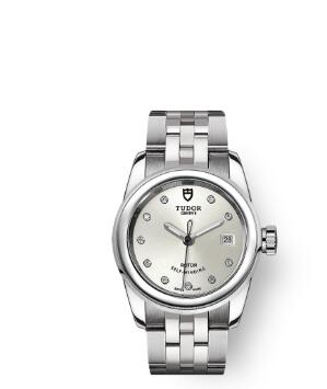 Cheap Tudor Glamour Date Review Replica Watch 26 mm steel case Diamond-set dial m51000-0002