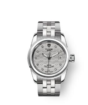 Cheap Tudor Glamour Date Review Replica Watch 26 mm steel case Diamond-set dial m51000-0004