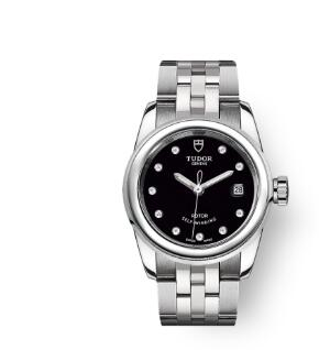 Cheap Tudor Glamour Date Review Replica Watch 26 mm steel case Diamond-set dial m51000-0008