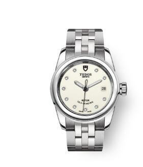 Cheap Tudor Glamour Date Review Replica Watch 26 mm steel case Diamond-set dial m51000-0028