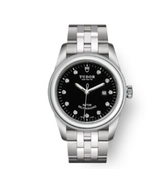 Cheap Tudor Glamour Date Review Replica Watch 31 mm steel case Diamond-set dial m53000-0001