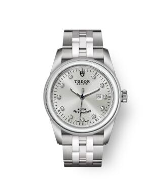 Cheap Tudor Glamour Date Review Replica Watch 31 mm steel case Diamond-set dial m53000-0003