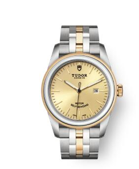 Cheap Tudor Glamour Date Review Replica Watch 31 mm steel case Steel and yellow gold bezel m53003-0005