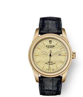 Cheap Tudor Glamour Date Review Replica Watch 31 mm yellow gold case Yellow gold bezel m53008-0013