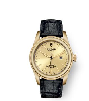 Cheap Tudor Glamour Date Review Replica Watch 31 mm yellow gold case Yellow gold bezel m53008-0015
