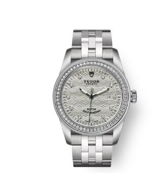 Cheap Tudor Glamour Date Review Replica Watch 31 mm steel case Diamond-set dial m53020-0002