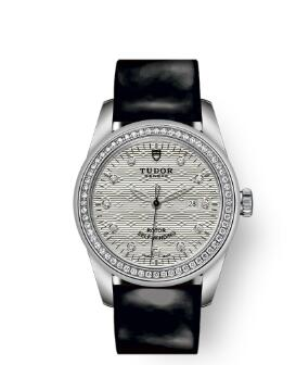 Cheap Tudor Glamour Date Review Replica Watch 31 mm steel case Diamond-set dial m53020-0055