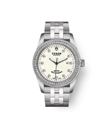 Cheap Tudor Glamour Date Review Replica Watch 31 mm steel case Diamond-set dial m53020-0074