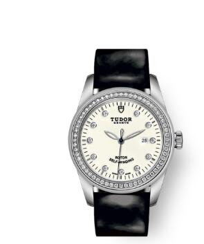 Cheap Tudor Glamour Date Review Replica Watch 31 mm steel case Diamond-set dial m53020-0086
