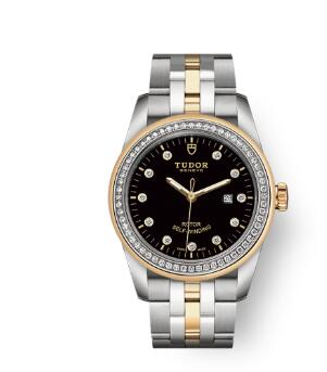 Cheap Tudor Glamour Date Review Replica Watch 31 mm steel case Diamond-set dial m53023-0017