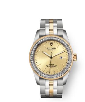 Cheap Tudor Glamour Date Review Replica Watch 31 mm steel case Diamond-set dial m53023-0020