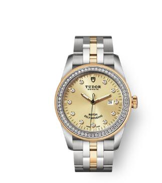 Cheap Tudor Glamour Date Review Replica Watch 31 mm steel case Diamond-set dial m53023-0021