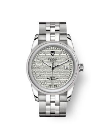 Cheap Tudor Glamour Date Review Replica Watch 36 mm steel case Silver dial m55000-0003