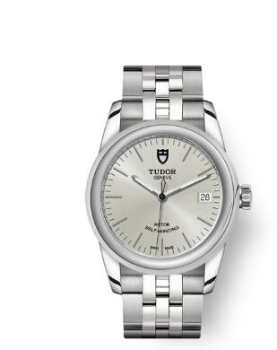 Cheap Tudor Glamour Date Review Replica Watch 36 mm steel case Silver dial m55000-0005
