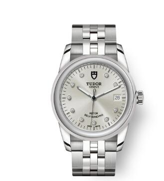 Cheap Tudor Glamour Date Review Replica Watch 36 mm steel case Diamond-set dial m55000-0006