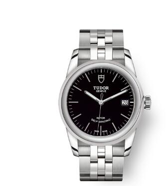 Cheap Tudor Glamour Date Review Replica Watch 36 mm steel case Black dial m55000-0007