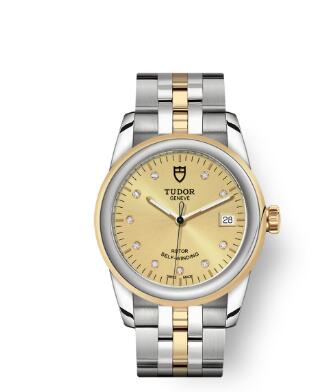 Cheap Tudor Glamour Date Review Replica Watch 36 mm steel case Diamond-set dial m55003-0006