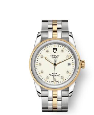 Cheap Tudor Glamour Date Review Replica Watch 36 mm steel case Diamond-set dial m55003-0083