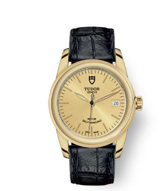Cheap Tudor Glamour Date Review Replica Watch 36 mm yellow gold case Yellow gold bezel m55008-0011
