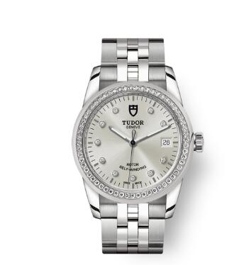 Cheap Tudor Glamour Date Review Replica Watch 36 mm steel case Diamond-set dial m55020-0003