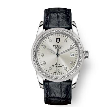 Cheap Tudor Glamour Date Review Replica Watch 36 mm steel case Diamond-set dial m55020-0058