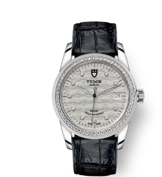 Cheap Tudor Glamour Date Review Replica Watch 36 mm steel case Diamond-set dial m55020-0060