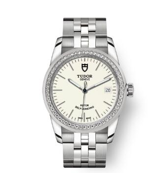 Cheap Tudor Glamour Date Review Replica Watch 36 mm steel case Diamond-set bezel m55020-0095