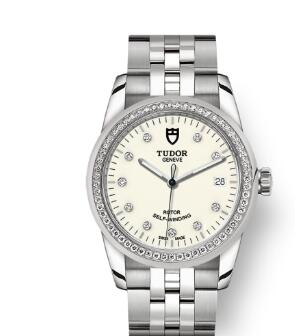 Cheap Tudor Glamour Date Review Replica Watch 36 mm steel case Diamond-set dial m55020-0096