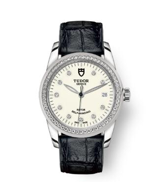 Cheap Tudor Glamour Date Review Replica Watch 36 mm steel case Diamond-set dial m55020-0108