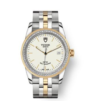 Cheap Tudor Glamour Date Review Replica Watch 36 mm steel case Diamond-set bezel m55023-0081