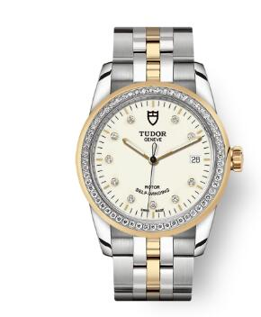 Cheap Tudor Glamour Date Review Replica Watch 36 mm steel case Diamond-set dial m55023-0082