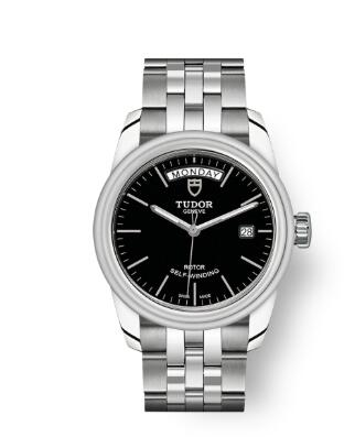 Cheap Tudor Glamour Date Day Review Replica Watch 39 mm steel case Black dial m56000-0007