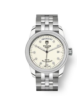 Cheap Tudor Glamour Date Day Review Replica Watch 39 mm steel case Diamond-set dial m56000-0182