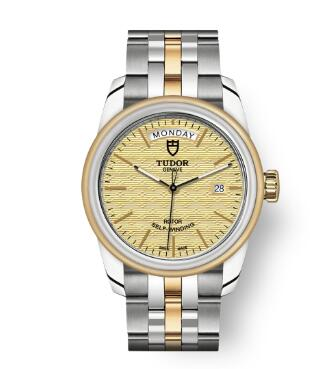 Cheap Tudor Glamour Date Day Review Replica Watch 39 mm steel case Steel and yellow gold bezel m56003-0003