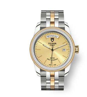 Cheap Tudor Glamour Date Day Review Replica Watch 39 mm steel case Steel and yellow gold bezel m56003-0005