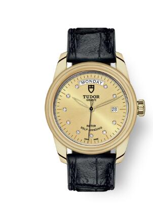 Cheap Tudor Glamour Date Day Review Replica Watch 39 mm yellow gold case Diamond-set dial m56008-0015