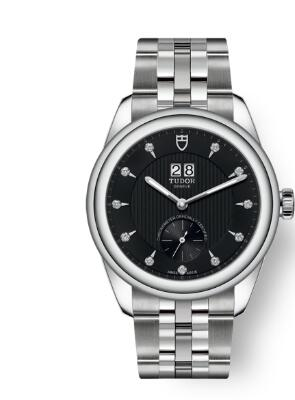 Buy Tudor Glamour Double Date Review Replica Watch for sale 42 mm steel case Diamond-set dial m57100-0004