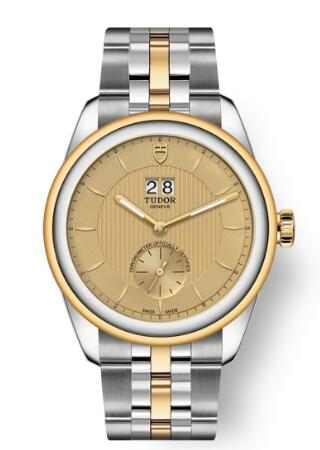 Buy Tudor Glamour Double Date Review Replica Watch for sale 42 mm steel case Steel and yellow gold bezel m57103-0003