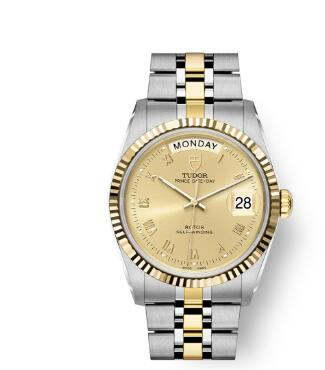 Buy Tudor Prince Date + Day Replica Watch 36 mm steel case Yellow gold bezel m76213-0021