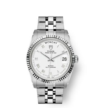 Buy Tudor Prince Date + Day Replica Watch 36 mm steel case White gold bezel m76214-0013
