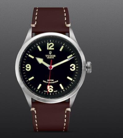 Replica Watch TUDOR HERITAGE RANGER m79910-0013 Black dial Dark brown leather strap